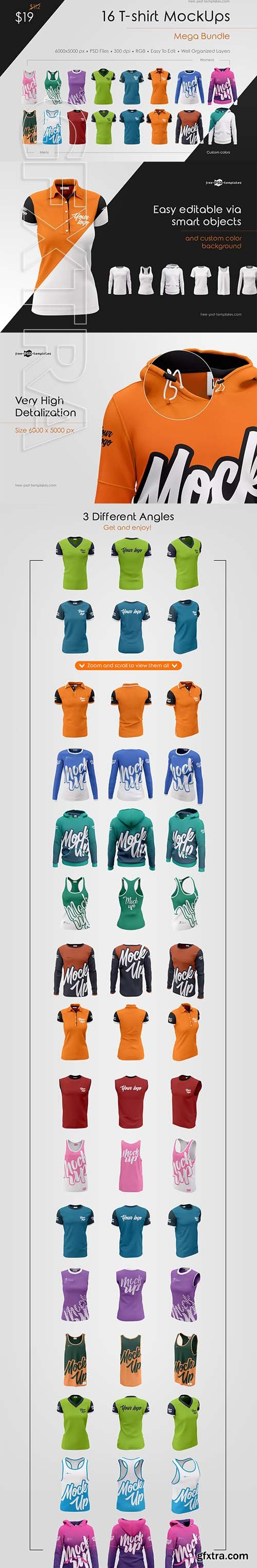 CreativeMarket - 16 T-shirt MockUps Mega Bundle 3774345