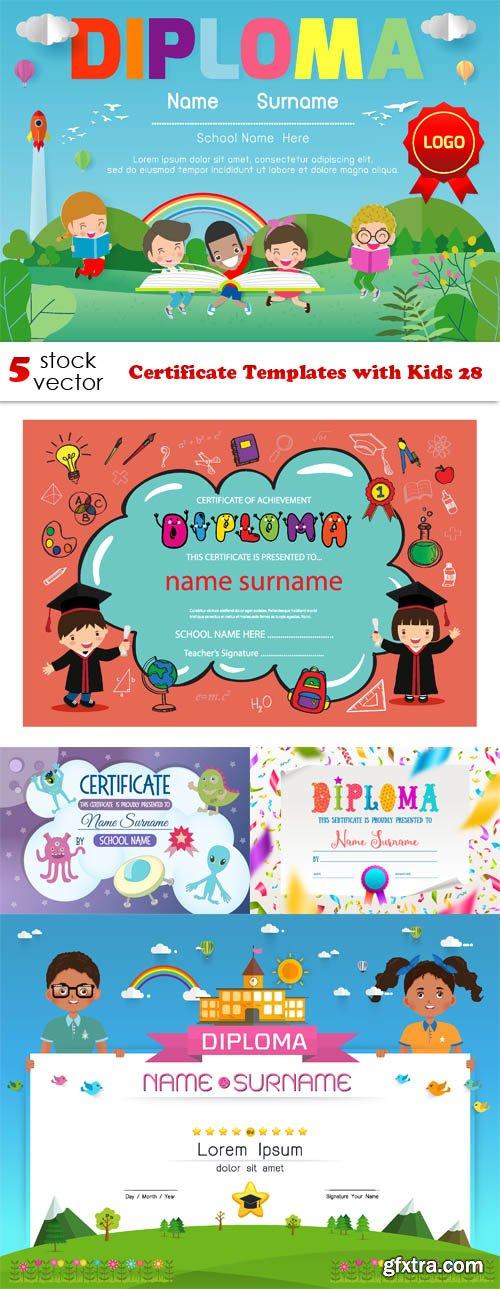 Vectors - Certificate Templates with Kids 28