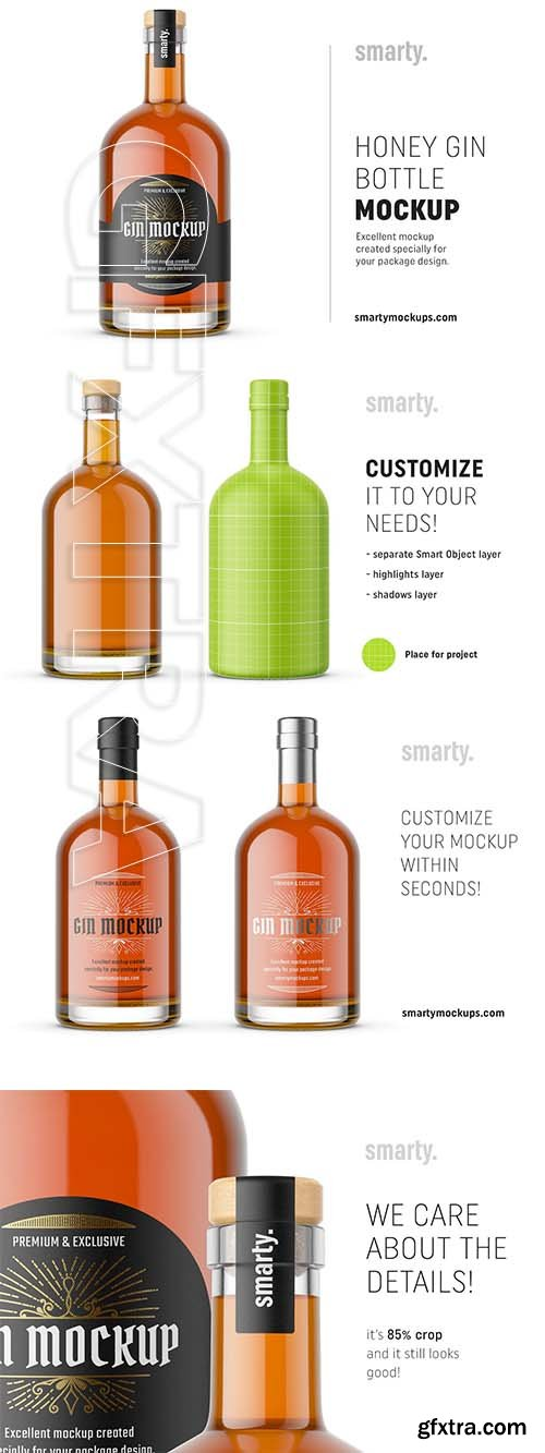 CreativeMarket - Honey gin bottle mockup 3762499