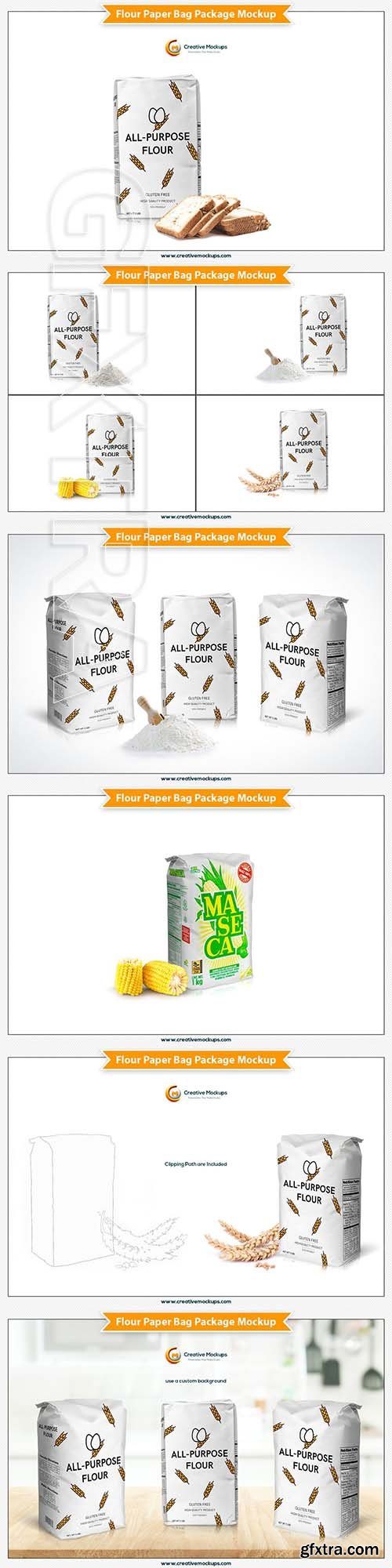 CreativeMarket - Flour Paper Bag Package Mockup 3746813