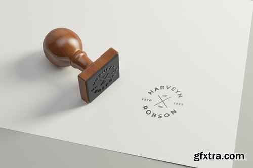 Rubber Stamp Logo Mockup - Square Version