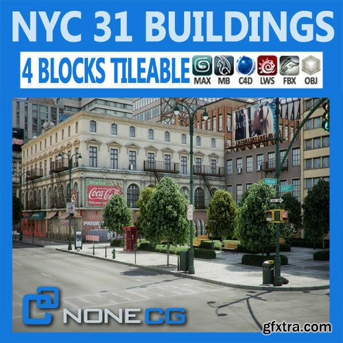 Cgtrader - NYC - 4 Blocks - 31 Buildings 3D model