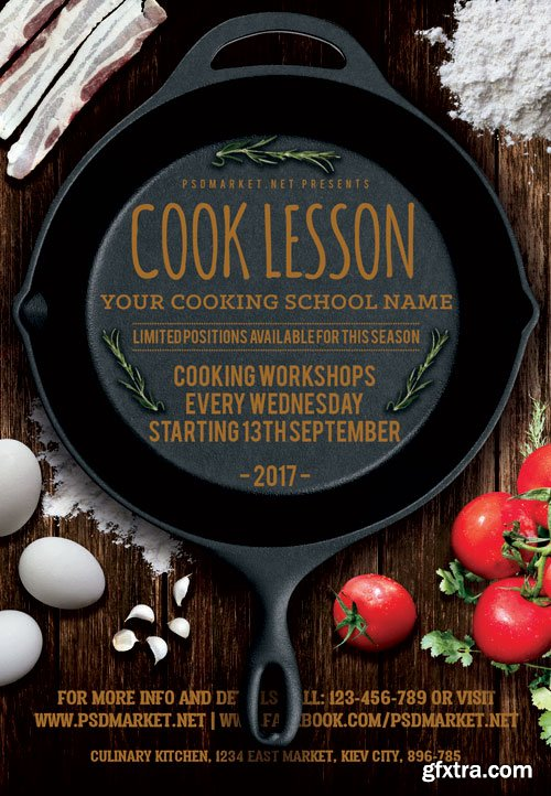 COOK LESSON – PREMIUM FLYER PSD TEMPLATE