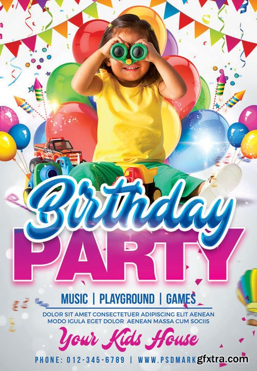 KIDS BIRTHDAY PARTY FLYER – PSD TEMPLATE