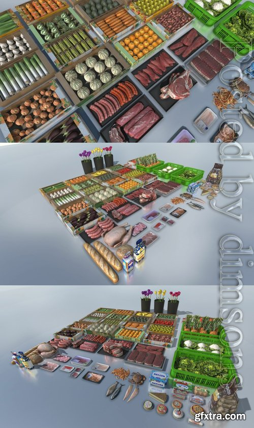 Cgtrader - Fresh products with LOD Low-poly 3D model