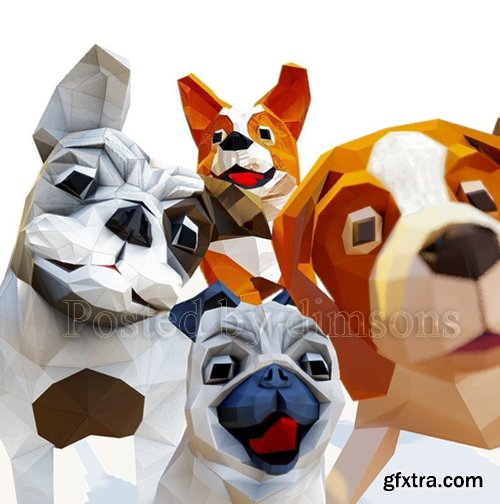 Cgtrader - Dog pack Low-poly 3D model