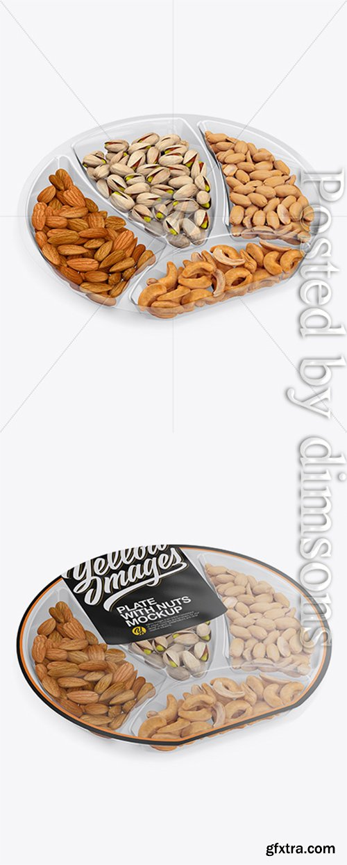 Plate with Nuts in Matte Film Mockup - Half Side View (High Angle Shot) 21105