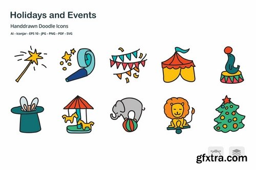 Holidays and Events Handdrawn Doodle Icons