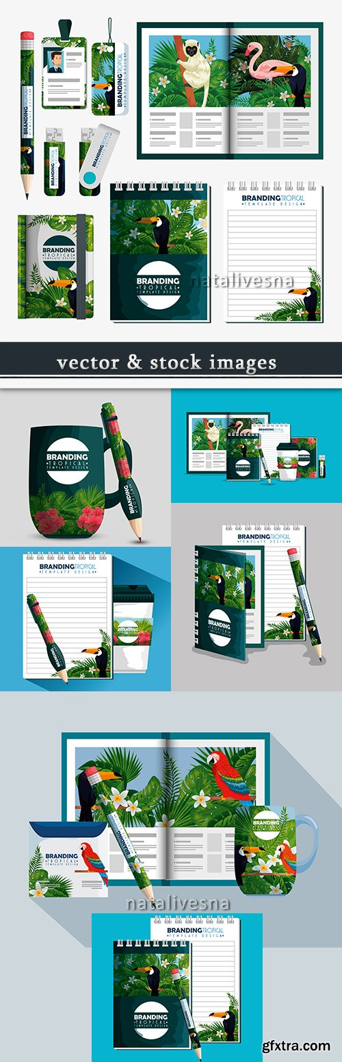 Tropical brand design corporate template for press