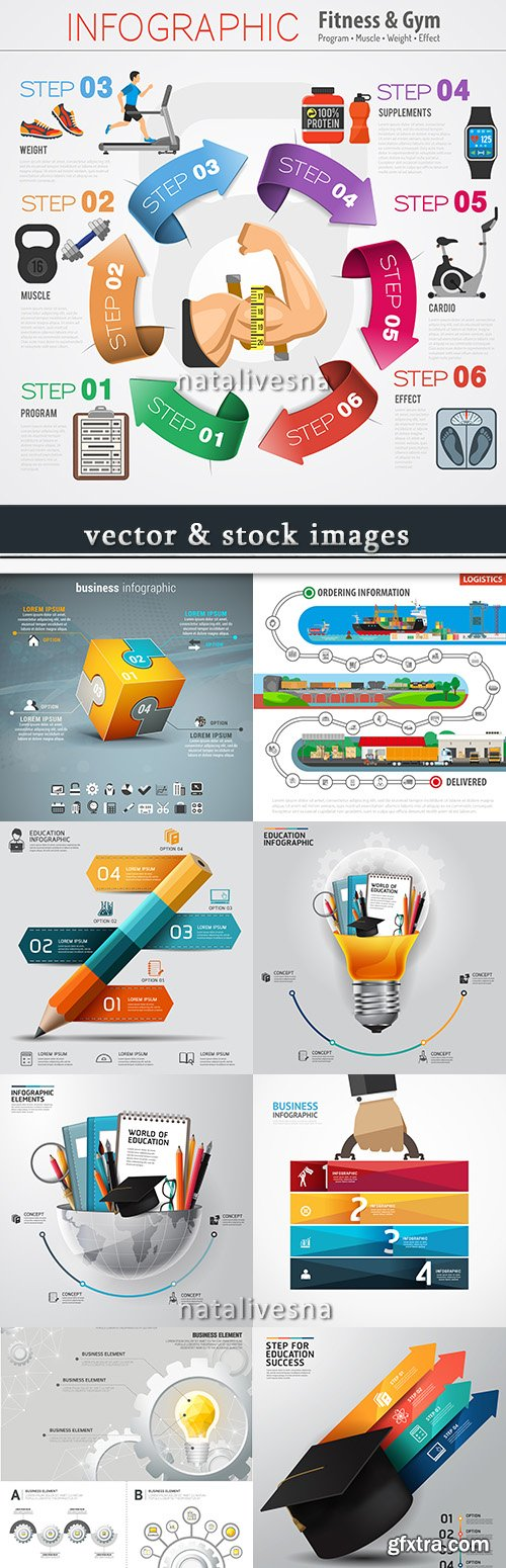Business infographics options elements collection 57