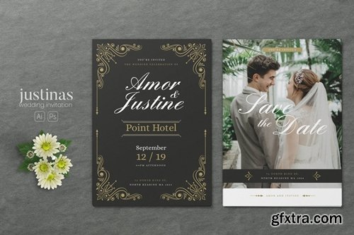 Minimalist Wedding AI and PSD Invitation Vol.11