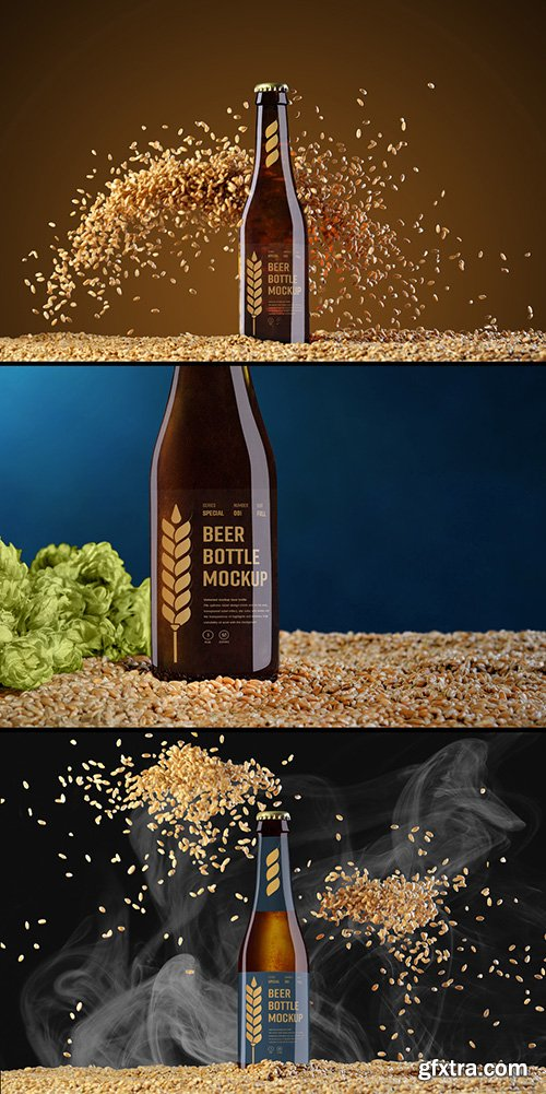 3 Beer Bottle Mockups with Hops, Grain, and Smoke Elements
