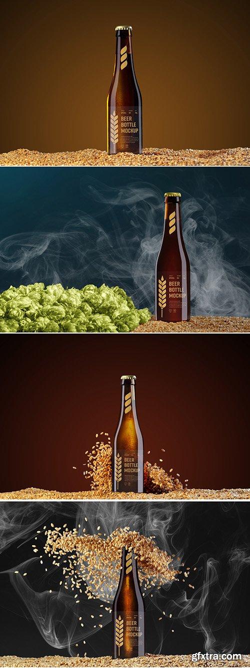 4 Beer Bottle Mockups with Hops, Grain, and Smoke Elements