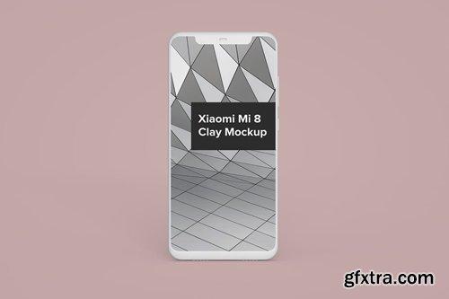 Xiaomi Mi 8 Clay Android Phone Mockup