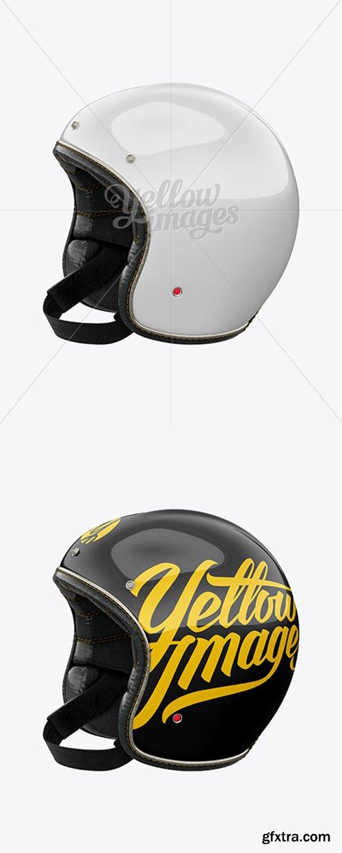 Vintage Motorcycle Helmet Mockup - Left Half Side View 17639