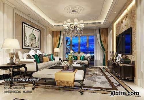European Style Living Room Interior Scene 06