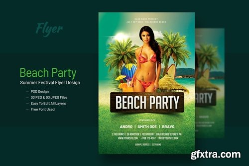 Summer Beach Party Flyer Template V-9