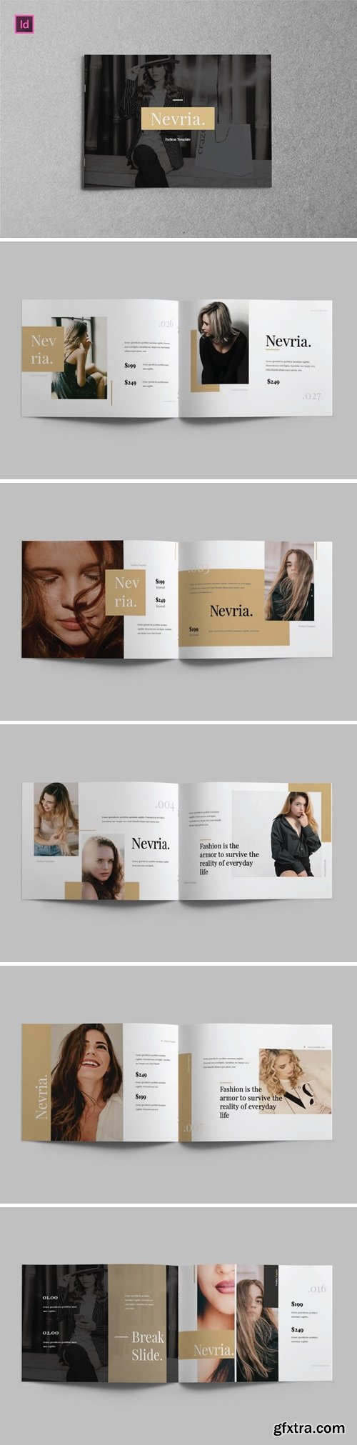 NEVRIA - A5 Landscape Lookbook template