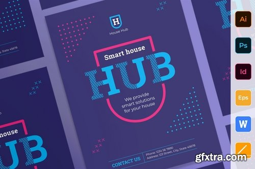 Smart House Poster Flyer Business Card Brochure Bifold Trifold