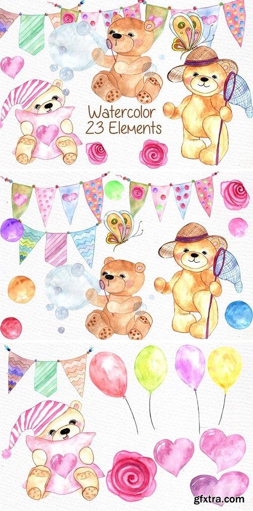 CM - Watercolor teddy bear clipart 638425
