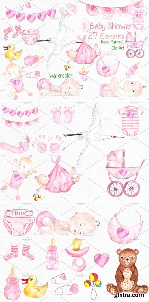 CM - Watercolor baby shower girl clipart 638490