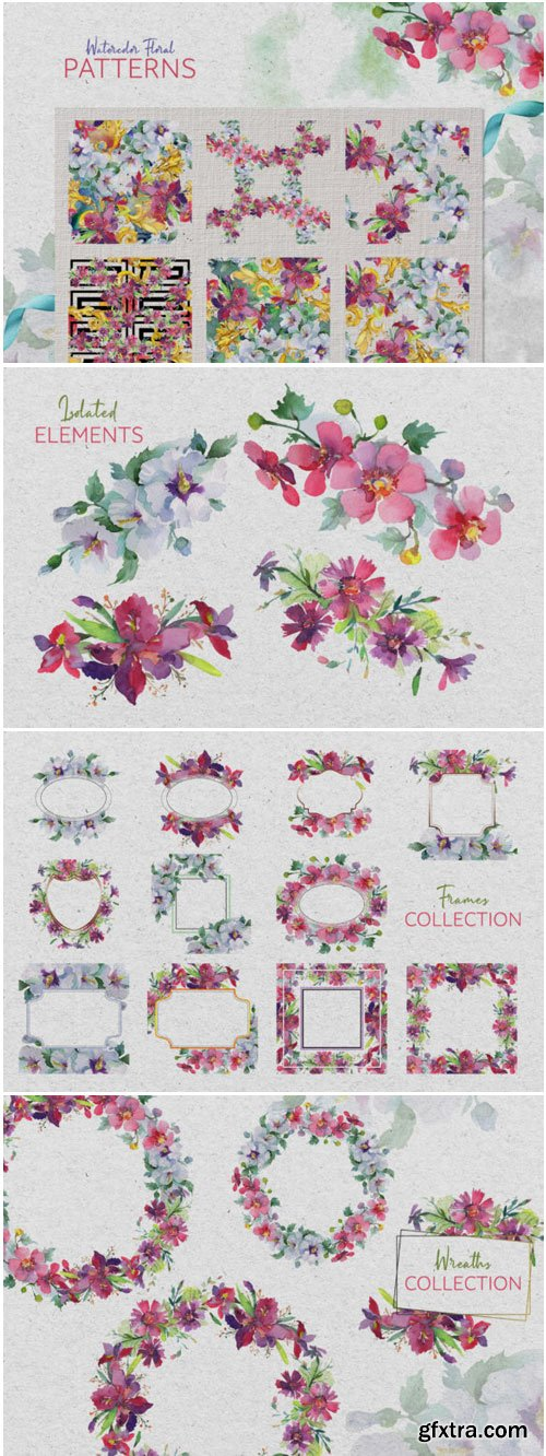 Bouquet Summer Freshness Watercolor PNG 1400230