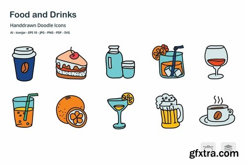 Food and Drinks Hand Drawn Doodle Icons