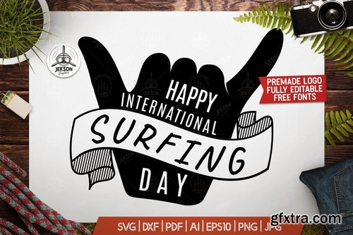 Surf Day Adventure Badge, Vintage Summer Logo