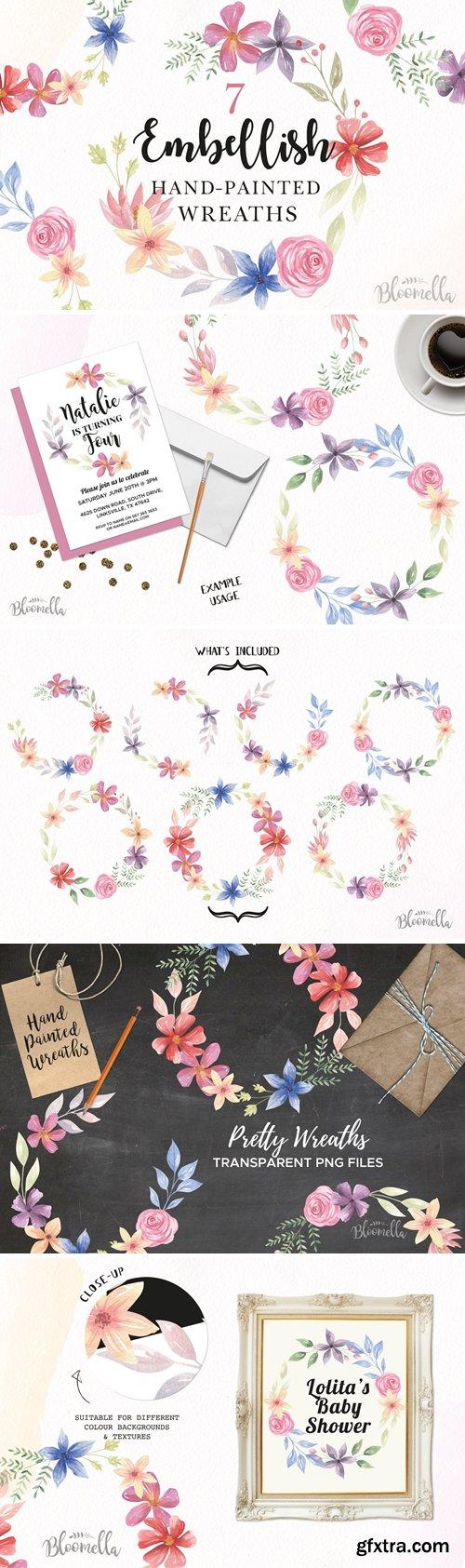 CM - Floral Wreaths Flower Clipart Set 2980812