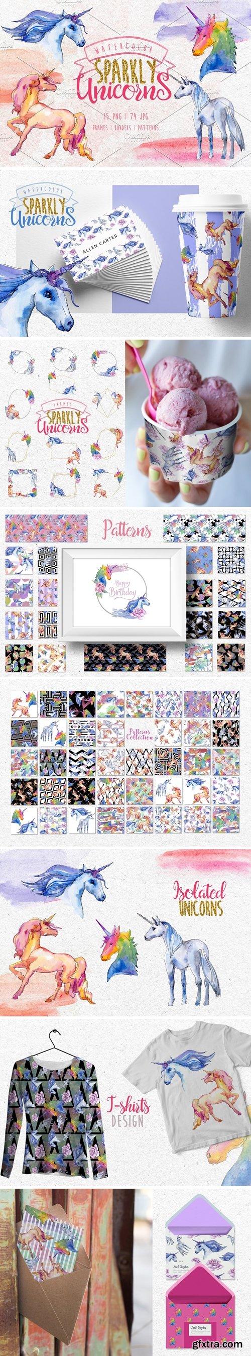 CM - Watercolor Sparkly unicorns PNG set 3063188