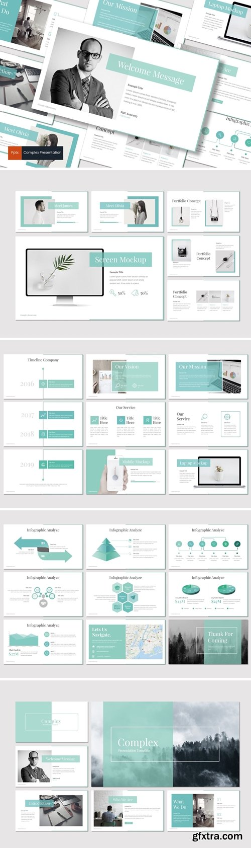 Complex Powerpoint, Keynote and Google Slides Templates