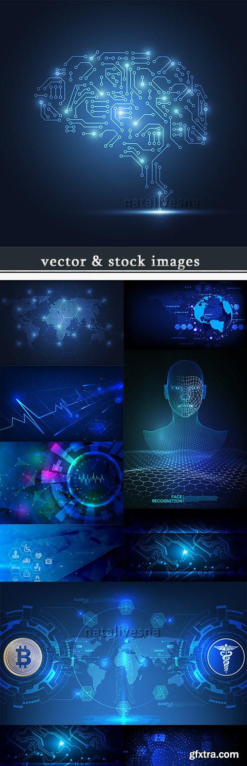 Abstract technology background blue illustration 2