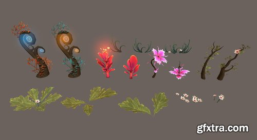 Cgtrader - Fantasy Root Forest - Game Props Low-poly 3D model