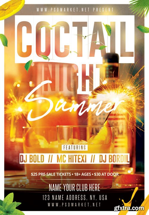 Cocktail Night Flyer – PSD Template
