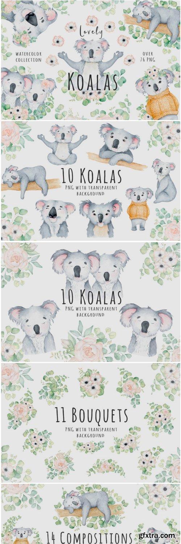 Lovely Koalas and Eucalyptus Watercolor 1400592
