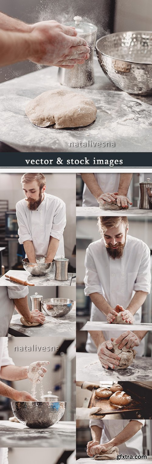 Professional baker in a uniform batch test hands