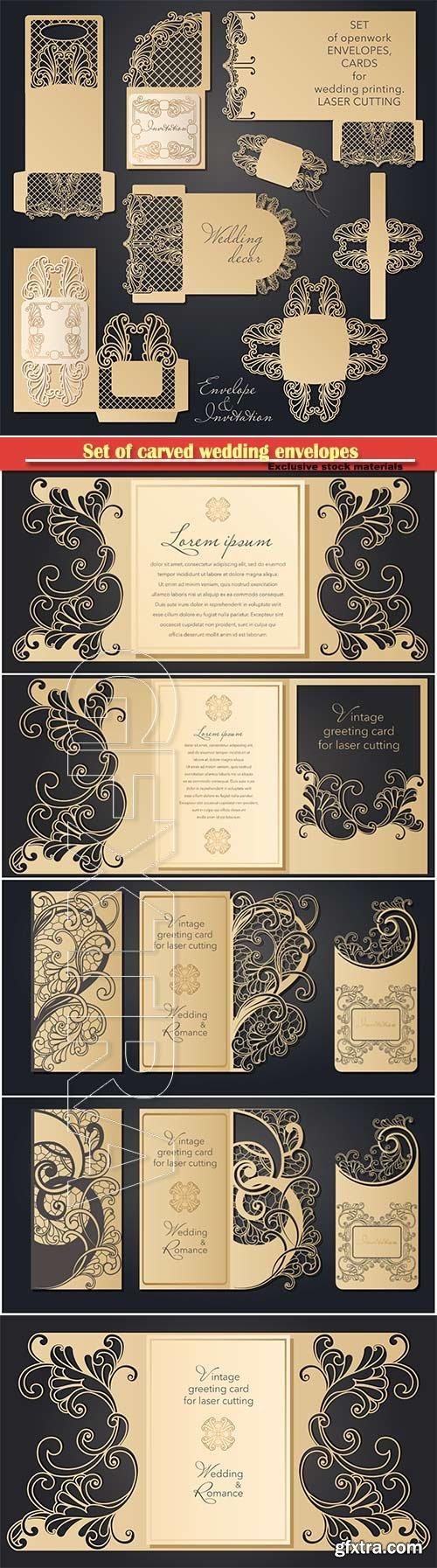 Set of carved wedding envelopes, pockets for laser cutting