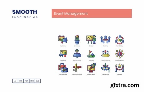 70 Event Management Icons Smooth Series