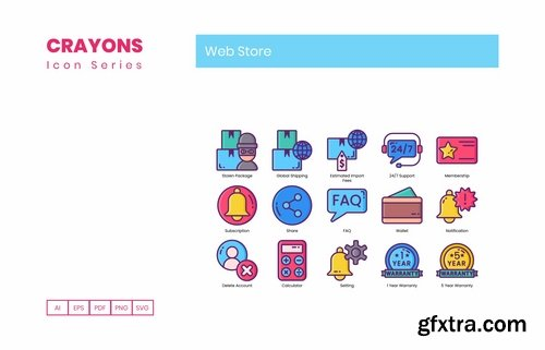75 Web Store Icons Crayons Series