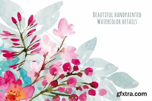 Watercolor Vintage Flowers Ranunculus and lilacs