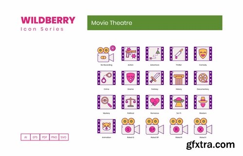 55 Movie Theatre Icons Wildberry Series