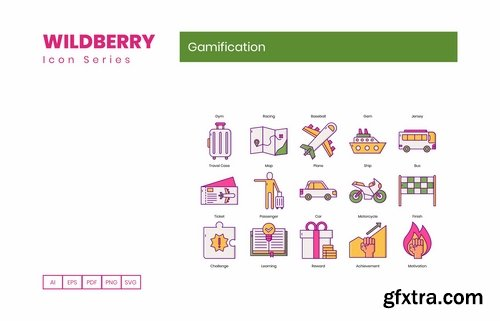 65 Gamification Icons Wildberry Series