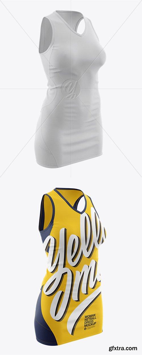 Netball Dress With V-Neck HQ Mockup - Half Side View 22045