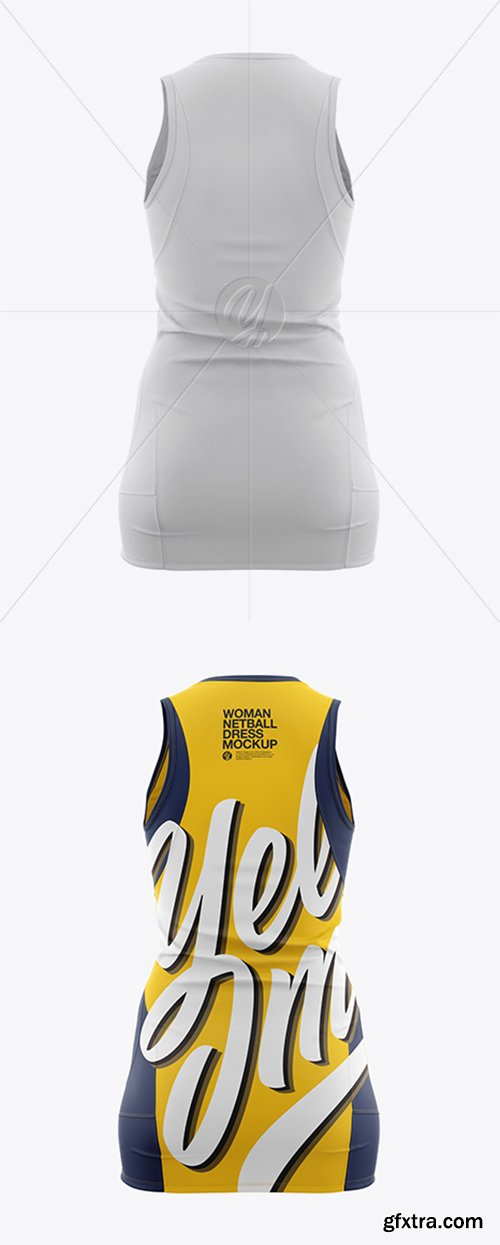 Netball Dress With V-Neck HQ Mockup - Back View 22039