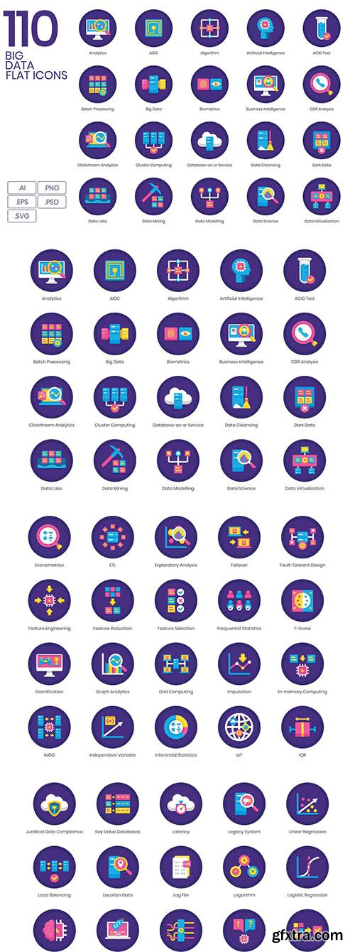 110 Big Data Icons | Orchid Series