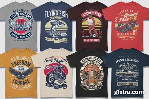 DealJumbo 100 Premium Retro T-shirt Designs