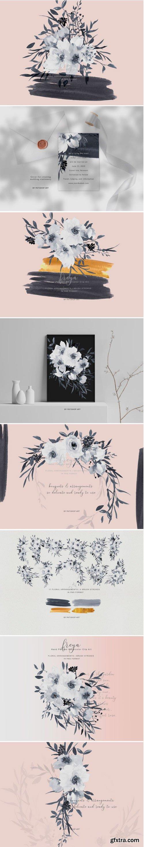 Elegant Gray & White Rose Bouquet Clipart 1409111
