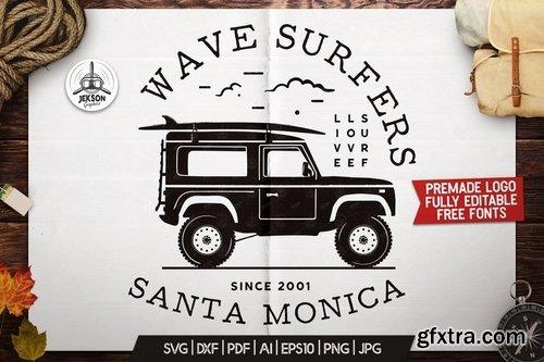 Surfers Adventure Badge Vintage Summer Surf Logo