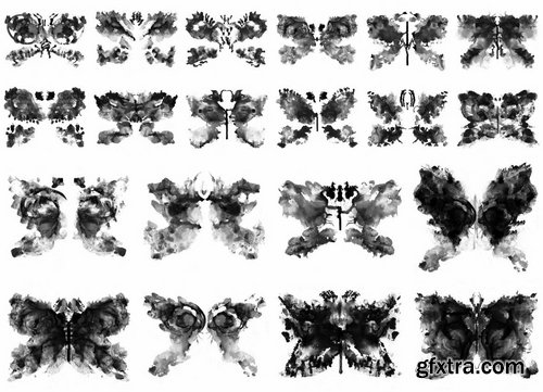 40 Rorschach PNG Ink Shapes