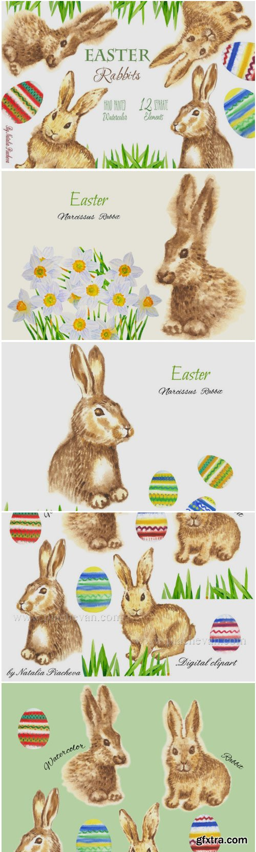 Easter Rabbits Watercolor Clipart 1412966